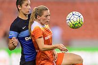 Houston, TX - Sunday June 19, 2016: Yael Averbuch, Kealia Ohai during a regular season National Women's Soccer League (NWSL) match between the Houston Dash and FC Kansas City at BBVA Compass Stadium.