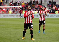 22nd May 2021; Brentford Community Stadium, London, England; English Football League Championship Football, Playoff, Brentford FC versus Bournemouth; Saman Ghoddos and Bryan Mbeumo of Brentford applauding the Brentford fans after full time
