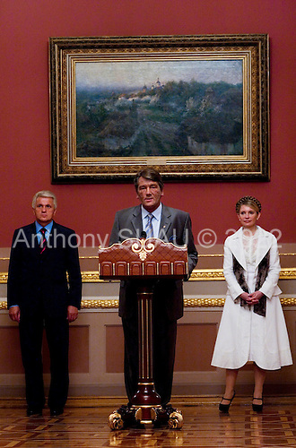 Kiev, Ukraine.August 24, 2005 ..On Independence Day in Kiev, Ukraine President Victor Yushchinko arrives for the events at the Mariinkiy Palace with Prime Minister Yulia Tymoshenko (R) and  Volodymyr Lytvyn (L), Speaker of the Ukrainian Parliament.