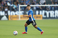 SAN JOSE, CAL - JULY 24: Luciano Abecasis #2 of the San Jose Earthquakes during a game between Houston Dynamo and San Jose Earthquakes at PayPal Park on July 24, 2021 in San Jose, Cal.