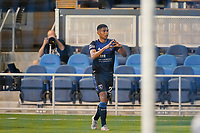SAN JOSE, CA - OCTOBER 03: Marcos Lopez #27 of the San Jose Earthquakes celebrates scoring during a game between Los Angeles Galaxy and San Jose Earthquakes at Earthquakes Stadium on October 03, 2020 in San Jose, California.