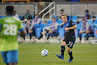 SAN JOSE, CA - OCTOBER 18: Tommy Thompson #22 of the San Jose Earthquakes during a game between Seattle Sounders FC and San Jose Earthquakes at Earthquakes Stadium on October 18, 2020 in San Jose, California.