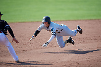 West Virginia Black Bears shortstop Connor Kaiser (59) slides into third base during a game against the Batavia Muckdogs on July 1, 2018 at Dwyer Stadium in Batavia, New York.  Batavia defeated West Virginia 8-4.  (Mike Janes/Four Seam Images)