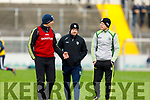 Kerry manager John Sugrue with selectors Kieran O'Leary and Brendan Guiney in discussion at half time at the Kerry v Cork U20 John Kerins Cup football game in Austin Stack Park on Saturday.