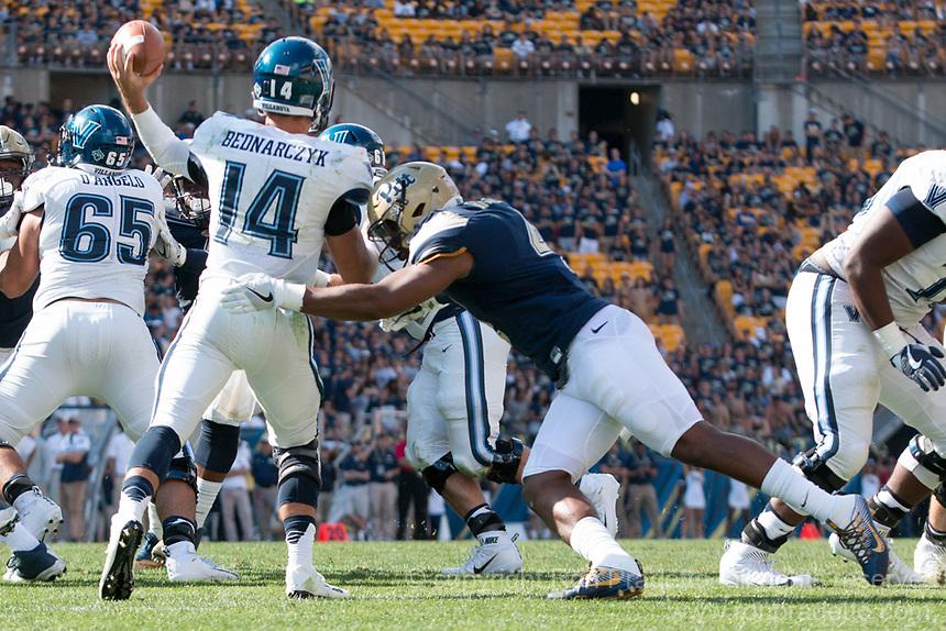 Pitt linebacker Bam Bradley hits the quarterback. The Pitt Panthers defeated the Villanova Wildcats 28-7 at Heinz Field, Pittsburgh, Pennsylvania on September 3, 2016.