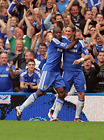 Pictured: Fernando Torres of Chelsea (R) celebrating his opening goal with team mate Ramires. Saturday 17 September 2011<br />