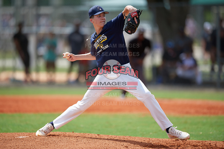 Pitcher Cam Leiter (10) during the WWBA World Championship at Lee County Player Development Complex on October 7, 2020 in Fort Myers, Florida.  Cam Leiter, a resident of Island Heights, New Jersey who attends Central Regional High School, is uncommitted.  (Mike Janes/Four Seam Images)