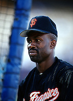 Shawon Dunston of the San Francisco Giants at Dodger Stadium in Los Angeles,California during the 1996 season. (Larry Goren/Four Seam Images)