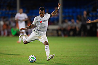 LAKE BUENA VISTA, FL - JULY 27: Mark-Anthony Kaye #14 of LAFC kicks the ball during a game between Seattle Sounders FC and Los Angeles FC at ESPN Wide World of Sports on July 27, 2020 in Lake Buena Vista, Florida.