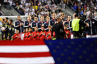 United States (USA) players during the playing of the US national anthem. The men's national teams of the United States (USA) and Colombia (COL) played to a 0-0 tie during an international friendly at PPL Park in Chester, PA, on October 12, 2010.