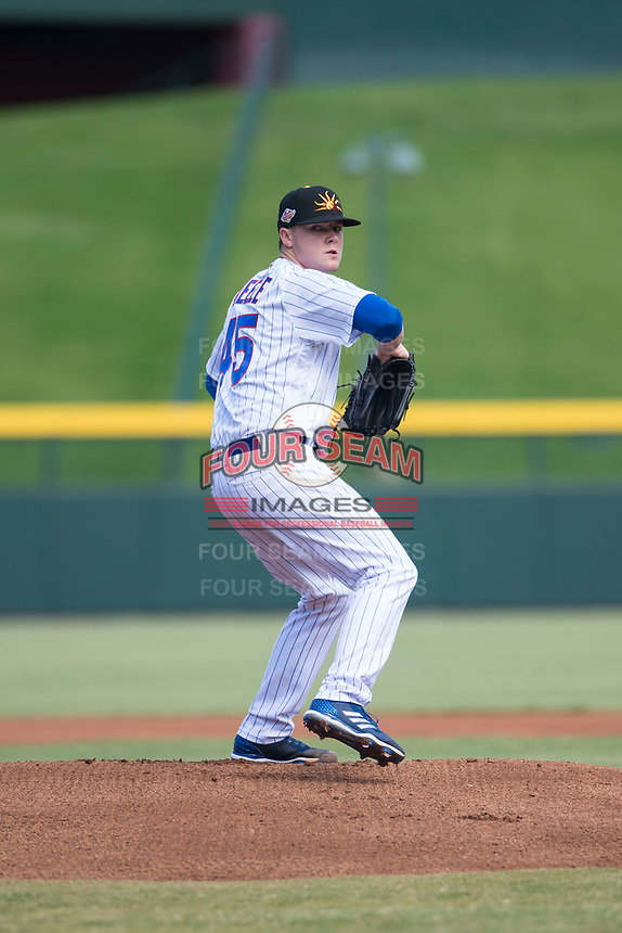 Mesa Solar Sox starting pitcher Justin Steele (45), of the Chicago Cubs organization, delivers a pitch during an Arizona Fall League game against the Peoria Javelinas at Sloan Park on October 11, 2018 in Mesa, Arizona. Mesa defeated Peoria 10-9. (Zachary Lucy/Four Seam Images)