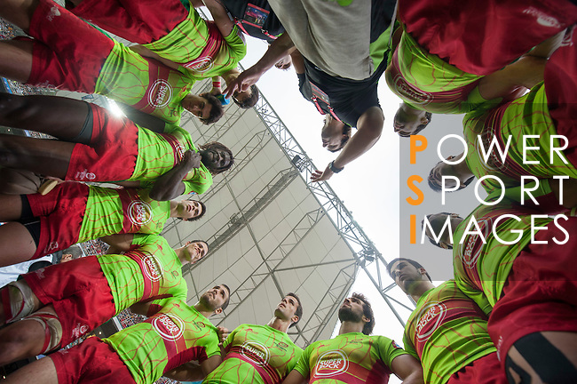 The Portuguese team gets ready during the HSBC Hong Kong Rugby Sevens 2016 on 09 April 2016 at Hong Kong Stadium in Hong Kong, China. Photo by Marcio Machado / Power Sport Images