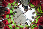 The Portuguese team gets ready during the HSBC Hong Kong Rugby Sevens 2016 on 09 April 2016 at Hong Kong Stadium in Hong Kong, China. Photo by Marcio Machado / Power Sport Images
