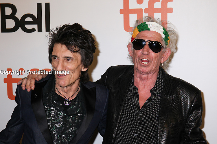 RON WOOD AND KEITH RICHARDS - RED CARPET OF THE FILM 'THE ROLLING STONES OLE OLE OLE! : A TRIP ACROSS LATIN AMERICA' - 41ST TORONTO INTERNATIONAL FILM FESTIVAL 2016 IN TORONTO, 16/09/2016. # FESTIVAL INTERNATIONAL DU FILM DE TORONTO 2016