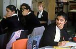 Secondary School 1990s UK. Mixed race group ethnic diversity girl students classroom Greenford High School, Middlesex  London 1990 England
