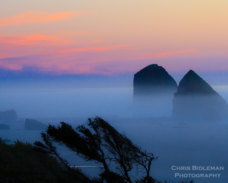 Jockey Cap rock at Silver Point in south Cannon Beach on the Oregon coast is seen at sunset with purple twilight with mist and fog rolling in on sandy beach from the Pacific Ocean