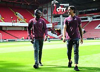 Swansea City's Joel Asoro and Yan Dhanda prior to the Sky Bet Championship match between Sheffield United and Swansea City at Bramall Lane, Sheffield, England, UK. Saturday 04 August 2018