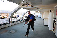 John Skovbo, from Denmark, takes part in a training course to fight maritime terror and piracy, on a boat in Haifa Port....