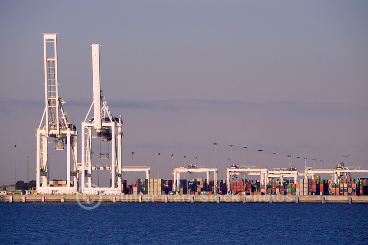 Roberts Bank Superport, Delta, BC, British Columbia, Canada - Shipping Containers and Cranes at Deltaport Container Facility and Export Terminal. Roberts Bank is part of Port Metro Vancouver.