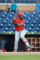 Christian Colon (14) of the Louisville Bats at bat against the Durham Bulls at Durham Bulls Athletic Park on May 28, 2019 in Durham, North Carolina. The Bulls defeated the Bats 18-3. (Brian Westerholt/Four Seam Images)