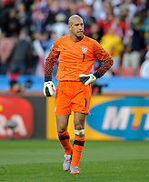 A dejected USA goalkeeper Tim Howard after the second goal scored by Zlatan Ljubijankic of Slovenia. USA vs Slovenia in the 2010 FIFA World Cup at Ellis Park in Johannesburg, South Africa on June 18th, 2010.