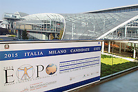 - the new Milan fair at Rho-Pero, banner for 2015 World Fair ....- la nuova fiera di Milano a Rho-Pero, striscione per l'EXPO universale del 2015