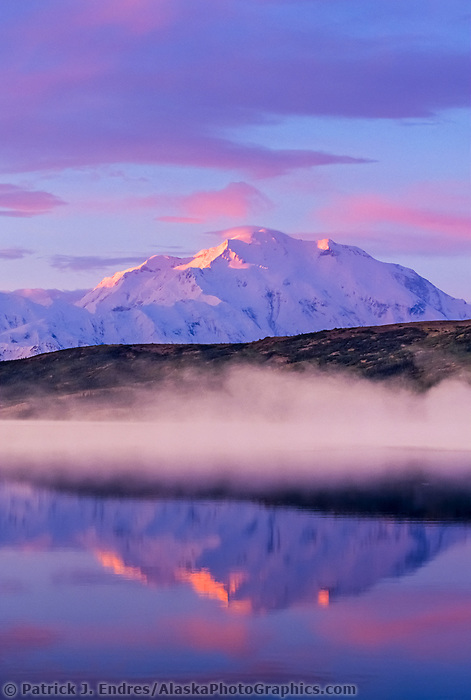 North America's highest mountain, morning alpenglow touches peak of mountain, fog over wonder lake reflection autumn, Denali National Park, Alaska