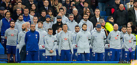 The Chelsea bench including Chelsea manager Maurizio SARRI and his staff during a minute silence during the Premier League match between Chelsea and Crystal Palace at Stamford Bridge, London, England on 4 November 2018. Photo by Andy Rowland.<br /> .<br /> (Photograph May Only Be Used For Newspaper And/Or Magazine Editorial Purposes. www.football-dataco.com)