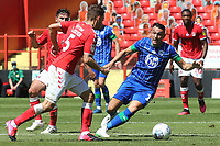 Wigan's Gary Roberts in possession as Charlton's Tom Lockyer gets ready to make a challenge during Charlton Athletic vs Wigan Athletic, Sky Bet EFL Championship Football at The Valley on 18th July 2020