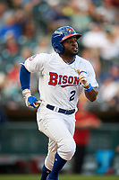 Buffalo Bisons right fielder Dwight Smith Jr. (2) bats during a game against the Syracuse Chiefs on July 3, 2017 at Coca-Cola Field in Buffalo, New York.  Buffalo defeated Syracuse 6-2.  (Mike Janes/Four Seam Images)