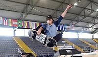 BOGOTA - COLOMBIA - 13 - 08 - 2017: Osmar Cardenas, Skater de Mexico, durante competencia en el Primer Campeonato Panamericano de Skateboarding, que se realiza en el Palacio de los Deportes en la Ciudad de Bogota. / Osmar Cardenas, Skater from Mexico, during a competitions in the First Pan American Championship of Skateboarding, that takes place in the Palace of Sports in the City of Bogota. Photo: VizzorImage / Luis Ramirez / Staff.