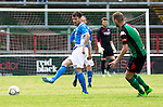 Glentoran v St Johnstone…. 09.07.16  The Oval, Belfast  Pre-Season Friendly<br />Paul Paton is closed down by Ciaran Caldwell<br />Picture by Graeme Hart.<br />Copyright Perthshire Picture Agency<br />Tel: 01738 623350  Mobile: 07990 594431