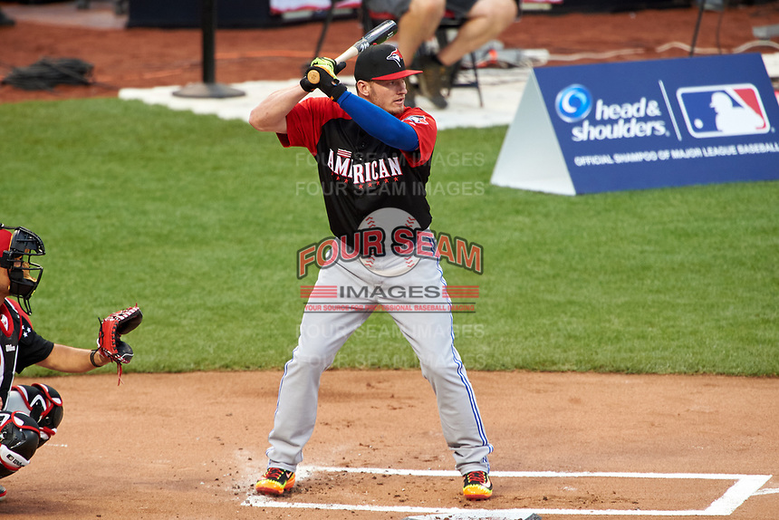 Toronto Blue Jays Josh Donaldson during the MLB Home Run Derby on July 13, 2015 at Great American Ball Park in Cincinnati, Ohio.  (Mike Janes/Four Seam Images)