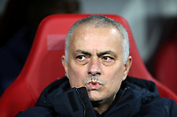10th March 2020, Red Bull Arena, Leipzig, Germany; EUFA Champions League, RB Leipzig v Tottenham Hotspur; Trainer Jose Mourinho Tottenham Hotspur watches as his team go down 2-0 in the leg