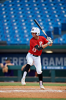 Hunter Teplanszky (13) of Marcus High School in Flower Mound, TX during the Perfect Game National Showcase at Hoover Metropolitan Stadium on June 20, 2020 in Hoover, Alabama. (Mike Janes/Four Seam Images)