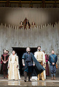 Macbeth by William Shakespeare. A Shakespeare's Globe Production directed by Eve Best. with Samantha Spiro as Lady Macbeth, Billy Boyd as Banquo, Joseph Millson as Macbeth [IN CENTRE] ,  Cat Simmons, Moyo Akande,Jess Murphy as Witches.Opens .Opens at the Shakespeare's Globe Theatre on 4/7/13  pic Geraint Lewis