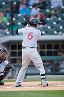Ben Gamel (6) of the Scranton\Wilkes-Barre RailRiders follows through on his swing against the Charlotte Knights at BB&T BallPark on May 1, 2015 in Charlotte, North Carolina.  The RailRiders defeated the Knights 5-4.  (Brian Westerholt/Four Seam Images)