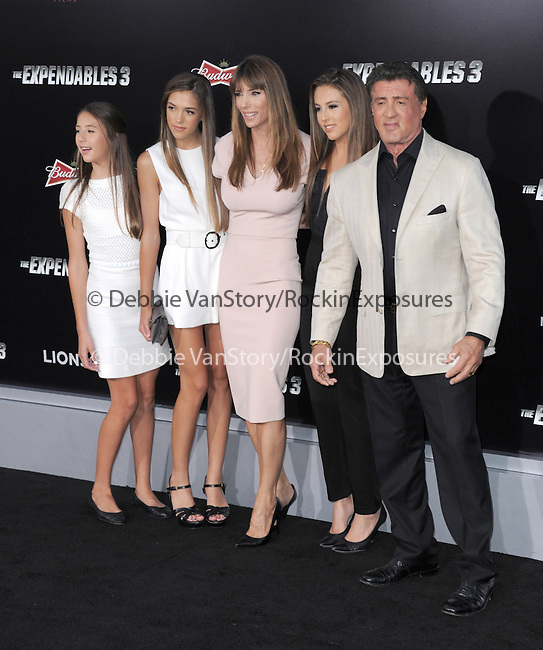 Sistine Rose, actor Sylvester Stallone, Sophia Rose Stallone; Jennifer Flavin Stallone, Scarlet Rose Stallone  attends The Lionsgate L.A. Premiere of The Expendables 3 held at The TCL Chinese Theatre in Hollywood, California on August 11,2014                                                                               © 2014 Hollywood Press Agency