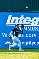 16 July 2017: Vermont Lake Monsters outfielder Logan Farrar, a 36th round draft pick for the Oakland Athletics, pulls in a fly ball for the second out in the 8th inning against the Auburn Doubledays at Centennial Field in Burlington, Vermont. The Monsters defeated the Doubledays 6-3 in NY Penn League action. Mandatory Credit: Ed Wolfstein Photo *** RAW (NEF) Image File Available ***