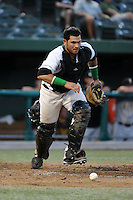 South Bend Silver Hawks catcher Roidany Aguila (24) during a game against the Bowling Green Hot Rods on August 20, 2013 at Stanley Coveleski Stadium in South Bend, Indiana.  Bowling Green defeated South Bend 3-2.  (Mike Janes/Four Seam Images)