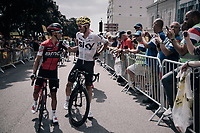 Richie Porte (AUS/BMC) & Vasil Kiryienka (BLR/SKY) catching up at the start<br /> <br /> 104th Tour de France 2017<br /> Stage 7 - Troyes › Nuits-Saint-Georges (214km)