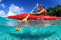 Split Level Kayaker.St John, US Virgin Islands