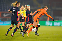 BREDA, NETHERLANDS - NOVEMBER 27: Samantha Mewis #3, Julie Ertz #8 of the United States chase down a loose ball with  Jill Roord #19 of the Netherlands during a game between Netherlands and USWNT at Rat Verlegh Stadion on November 27, 2020 in Breda, Netherlands.