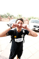 Photo: Richard Lane/Richard Lane Photography. London Wasps in Abu Dhabi for their LV= Cup game against Harlequins on 30th January 2011. 01/02/2011. Wasps' Rob Hoadley, in a sand storm leaves the Emirates Palace Hotel by coach to the airport.