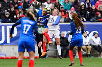 Harrison, NJ - Sunday March 04, 2018: Amanine Henry, Savannah McCaskill during a 2018 SheBelieves Cup match match between the women's national teams of the United States (USA) and France (FRA) at Red Bull Arena.