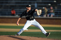 Wake Forest Demon Deacons relief pitcher Rayne Supple (30) delivers a pitch to the plate against the Florida State Seminoles at David F. Couch Ballpark on April 16, 2016 in Winston-Salem, North Carolina.  The Seminoles defeated the Demon Deacons 13-8.  (Brian Westerholt/Four Seam Images)