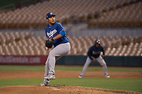 Los Angeles Dodgers starting pitcher Andre Scrubb (71) during a Minor League Spring Training game against the Seattle Mariners at Camelback Ranch on March 28, 2018 in Glendale, Arizona. (Zachary Lucy/Four Seam Images)