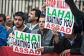 Protest in Whitehall against suppression of dissent in Syria by President Assad.