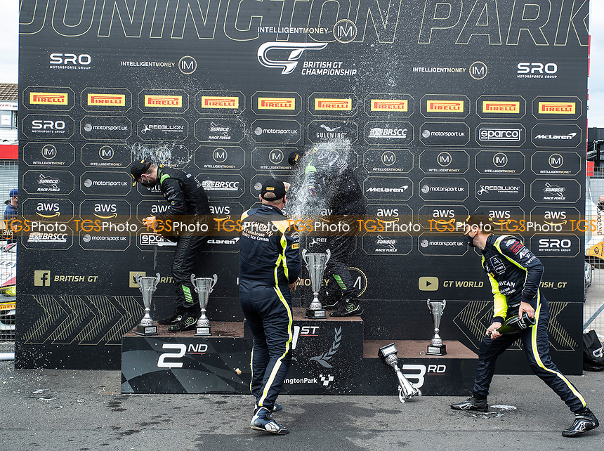 Champagne celebrations for Richard Neary & Sam Neary, Mercedes AMG GT3, Team Abba Racing during the British GT & F3 Championship on 11th July 2021