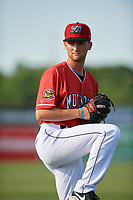 Batavia Muckdogs Josh Simpson (15) poses for a photo before a NY-Penn League game against the State College Spikes on July 3, 2019 at Dwyer Stadium in Batavia, New York.  State College defeated Batavia 6-4.  (Mike Janes/Four Seam Images)
